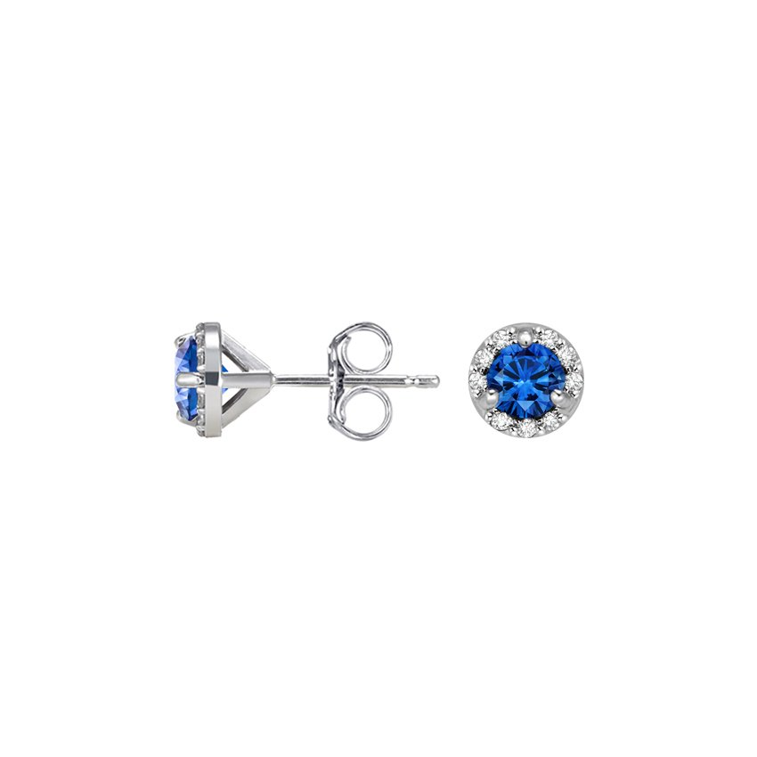 Top Twenty Valentine's Gifts - 18K WHITE GOLD PETITE SAPPHIRE HALO DIAMOND EARRINGS