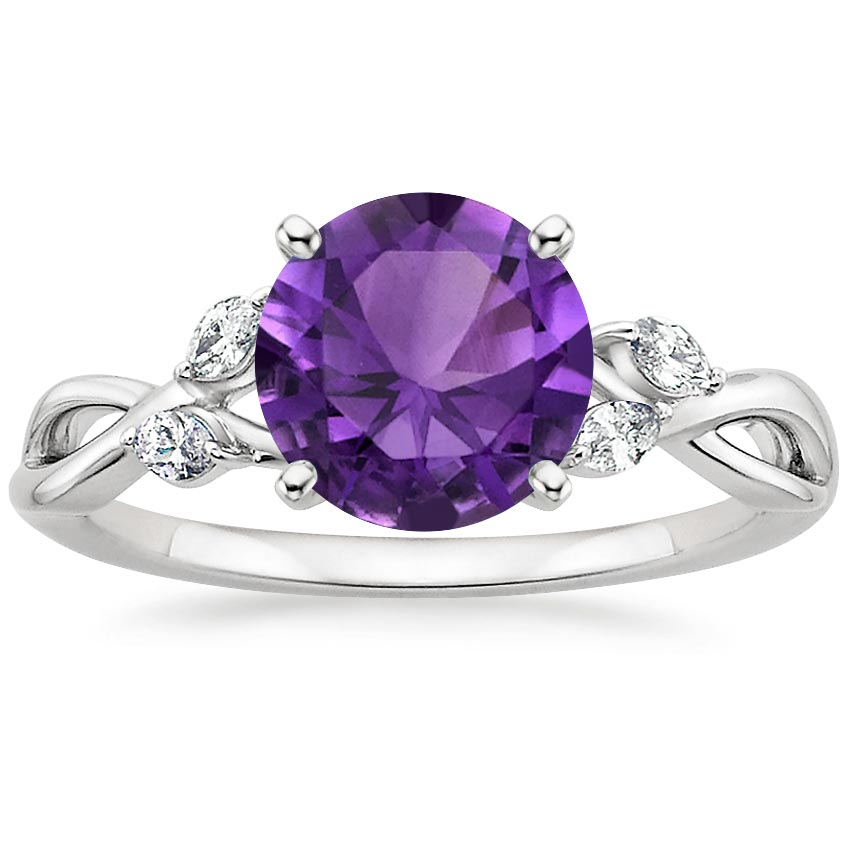 Amethyst Willow Diamond Ring in 18K White Gold