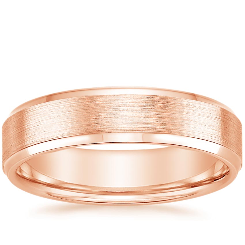 14K Rose Gold Beveled Edge Matte Wedding Ring, top view