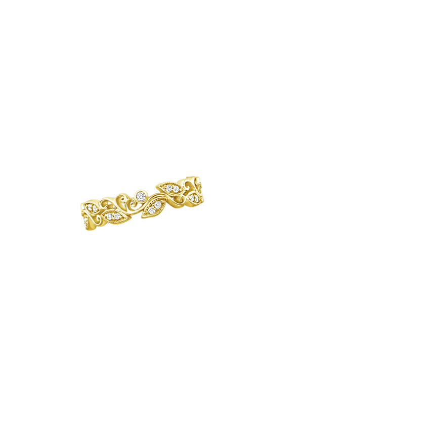 Ivy Scroll Bands: Ivy Scroll Diamond Ring In 18K Yellow Gold