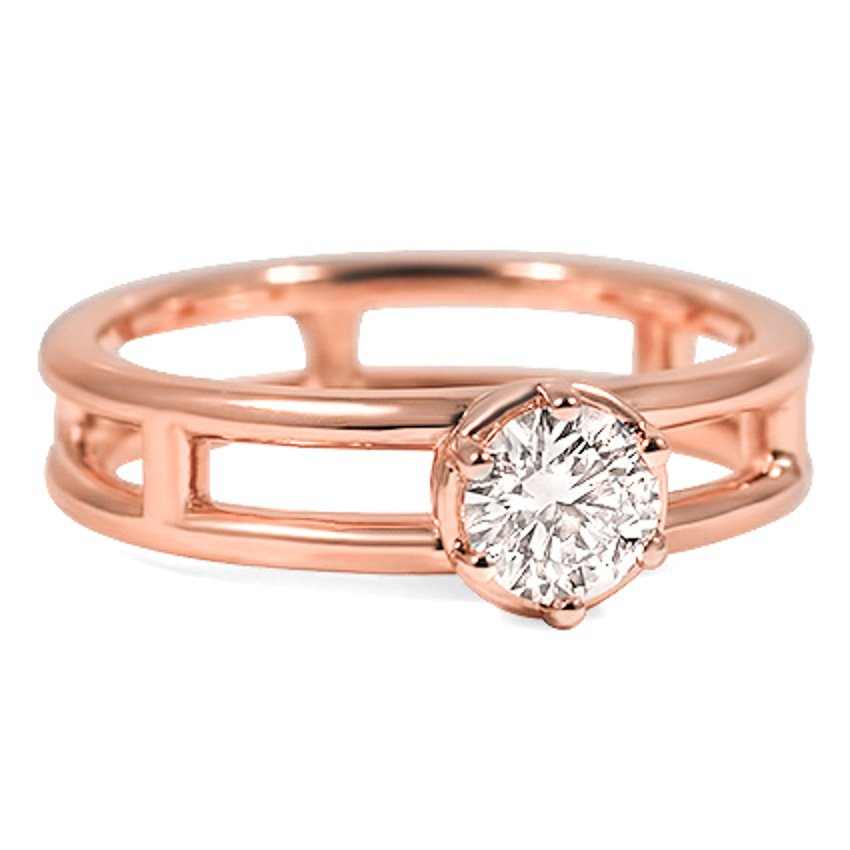 Custom Double-Band Ring with Raised Solitaire