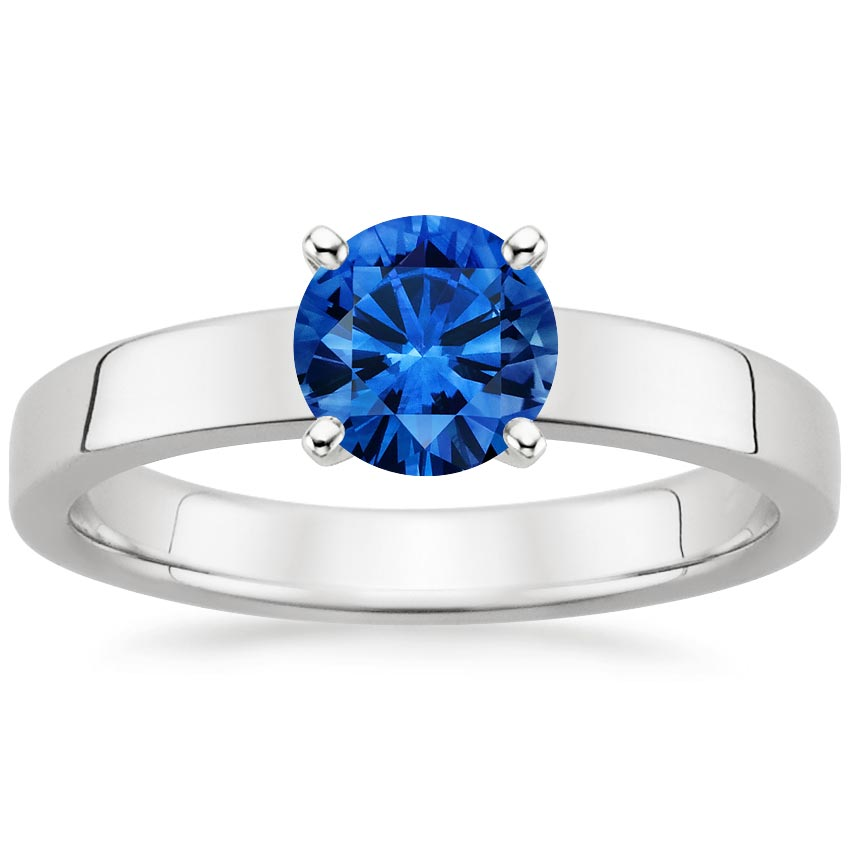18K White Gold Sapphire Marina Ring, top view