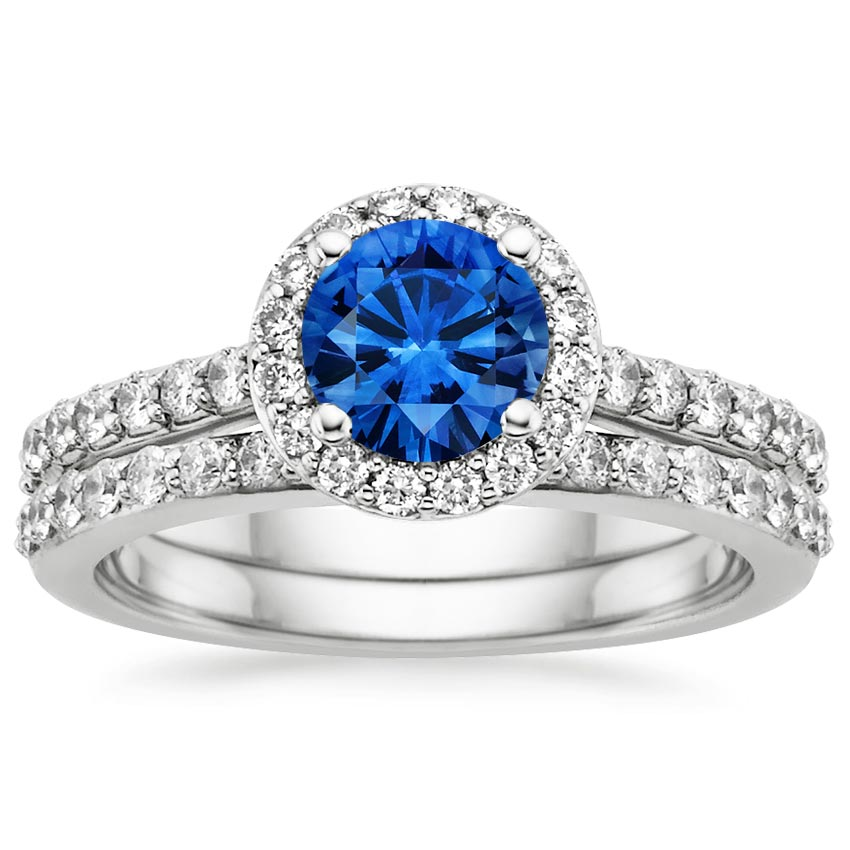 Sapphire Halo Diamond Ring With Side Stones With Petite