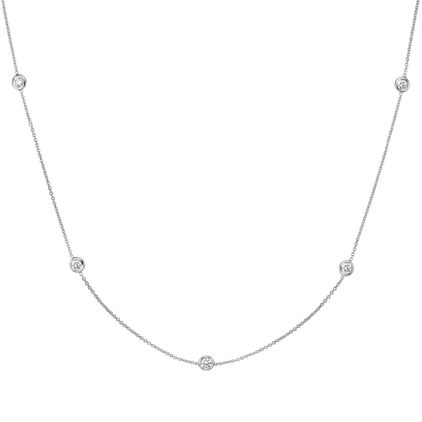 Bezel Diamond Strand Necklace (2/3 ct. tw) in 18K White Gold