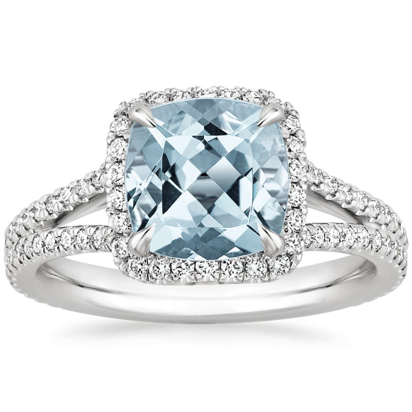 aquamarine fortuna diamond ring in 18k white gold. Black Bedroom Furniture Sets. Home Design Ideas