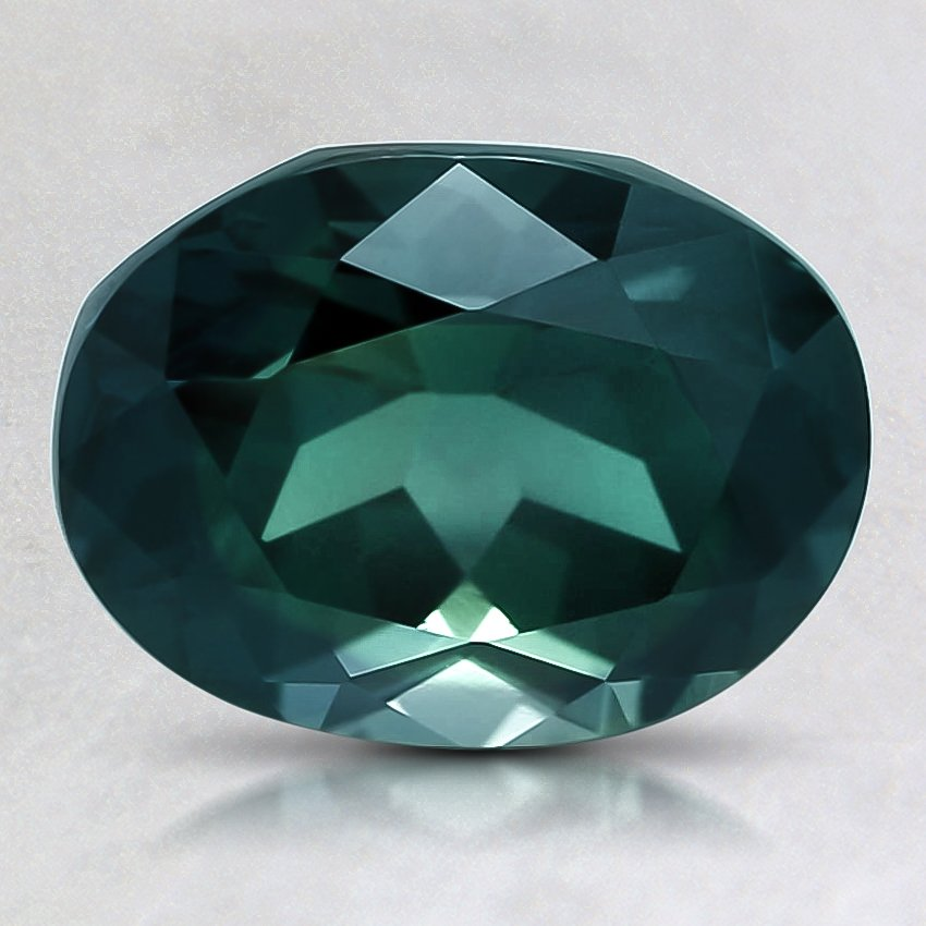 9.1x7mm Unheated Teal Oval Sapphire