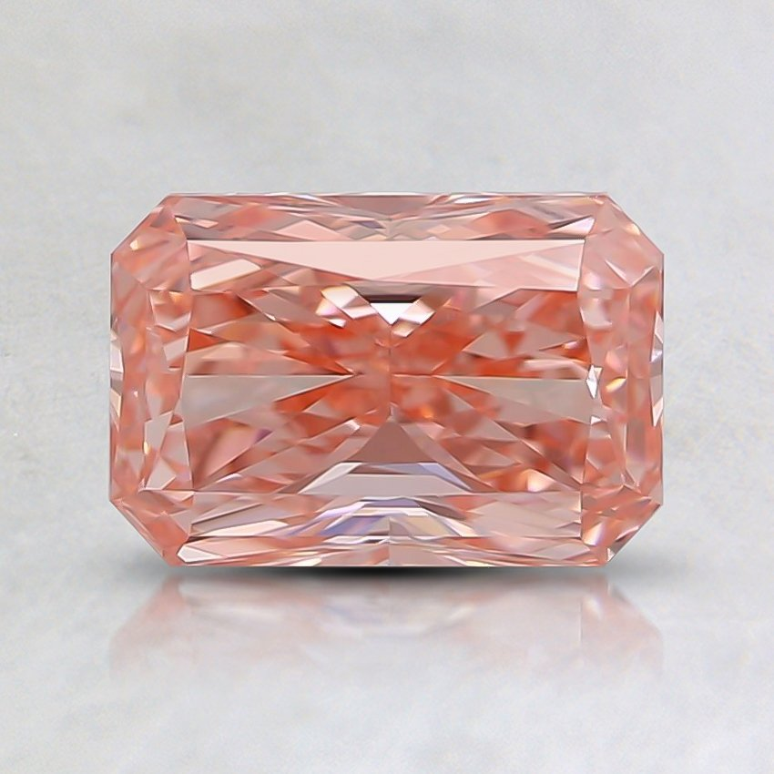 1.00 Ct. Fancy Intense Orangy Pink Radiant Lab Created Diamond