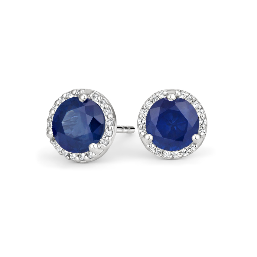 Luxe Sapphire Halo Diamond Earrings in 18K White Gold