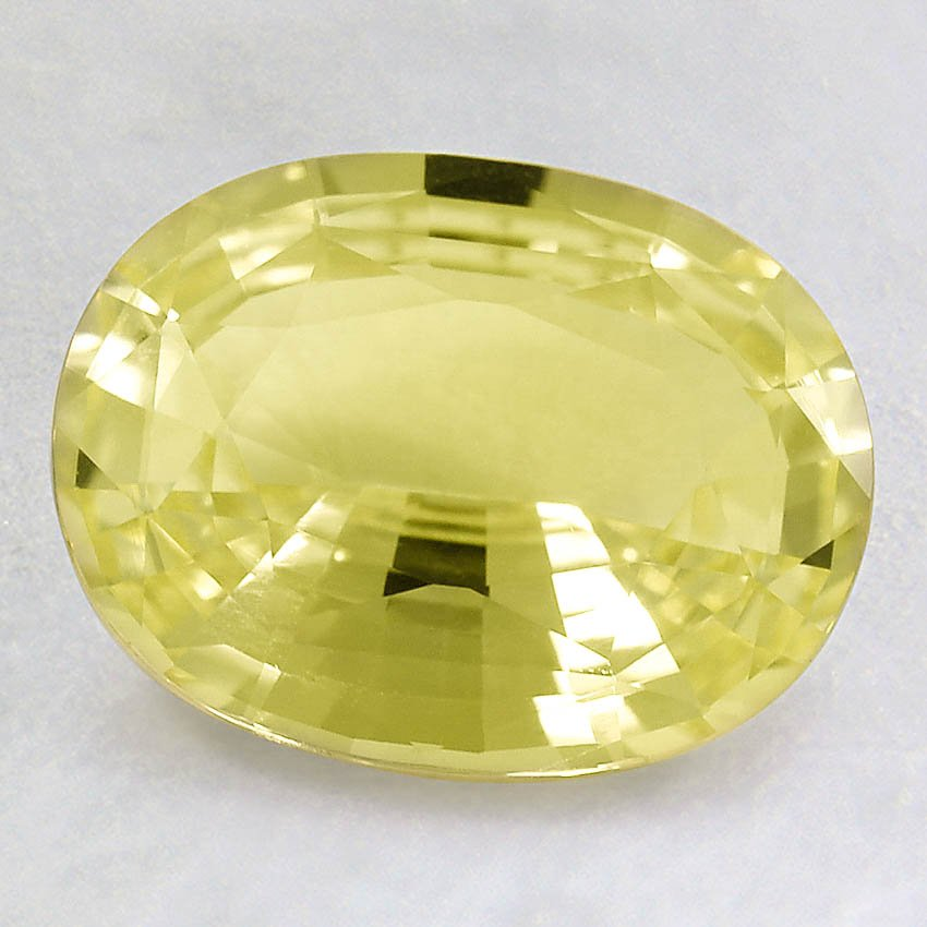 9x7mm Light Yellow Oval Sapphire, top view