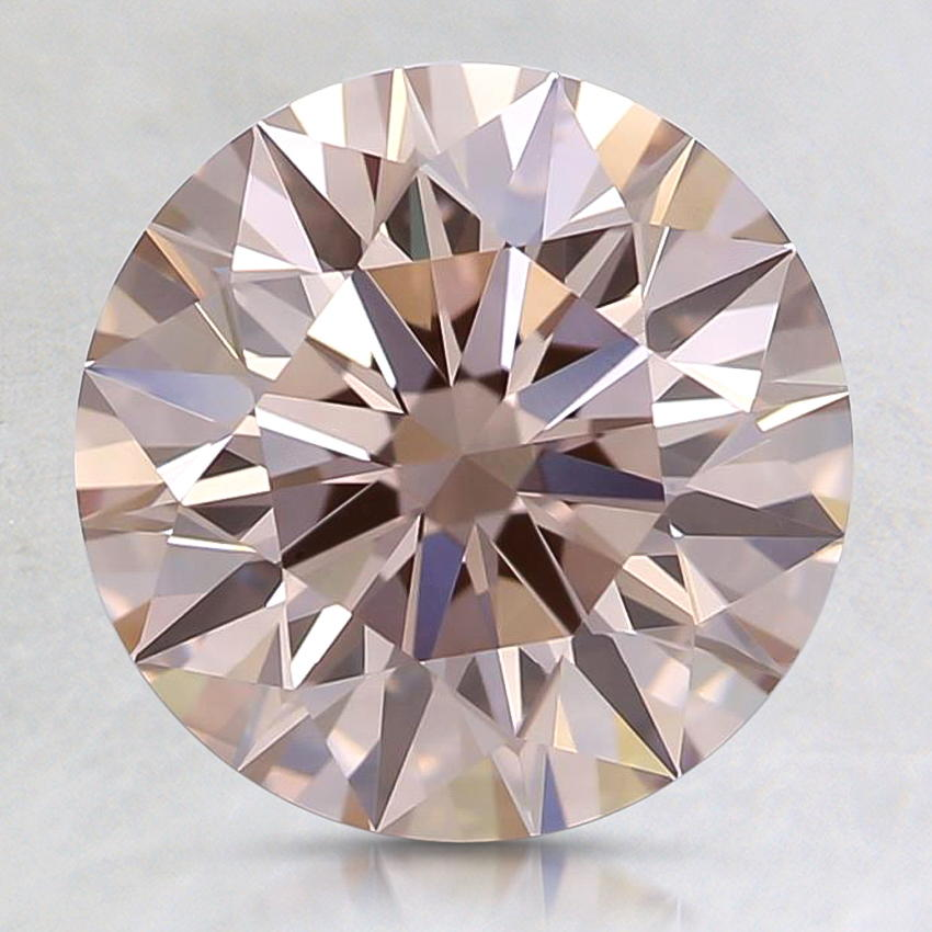 2.25 Carat Lab Created Fancy Pinkish Brown Round Diamond, top view