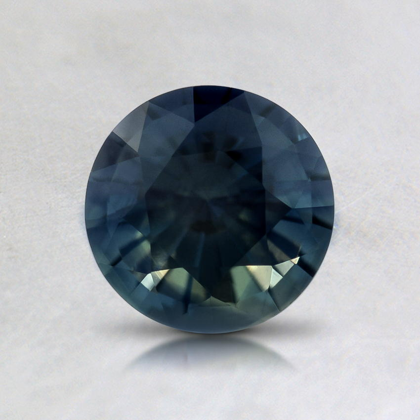 6mm Teal Round Sapphire, top view