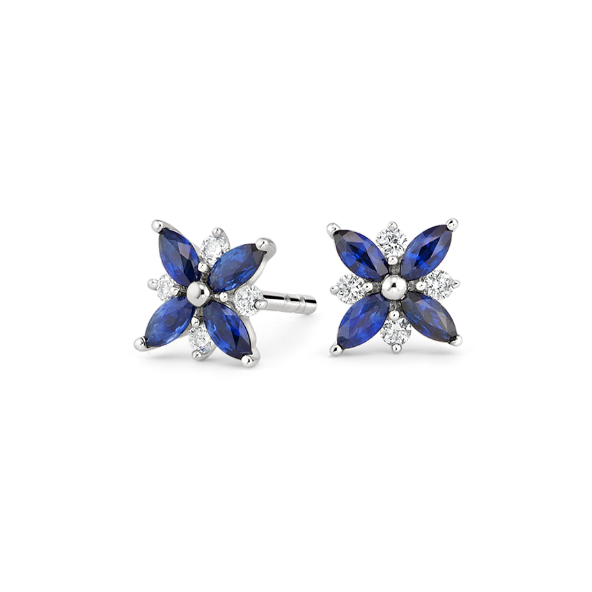 Top Twenty Anniversary Gifts - PETAL SAPPHIRE AND DIAMOND EARRINGS