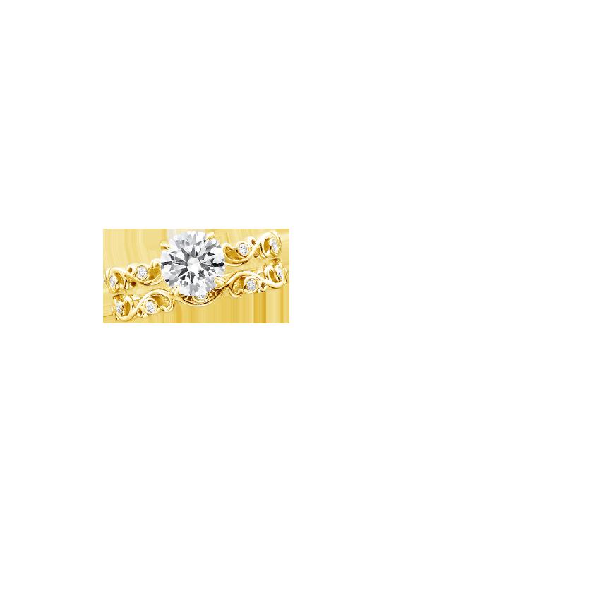 Ivy Scroll Bands: 18K Yellow Gold Petite Ivy Scroll Diamond Bridal Set