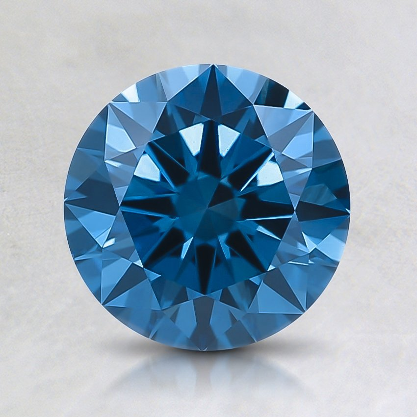 1.26 Ct. Fancy Deep Greenish Blue Round Lab Created Diamond