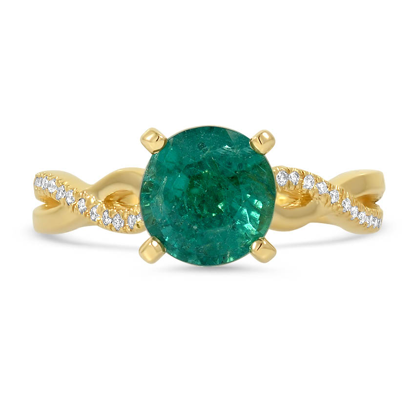 Custom Twisted Diamond and Emerald Ring