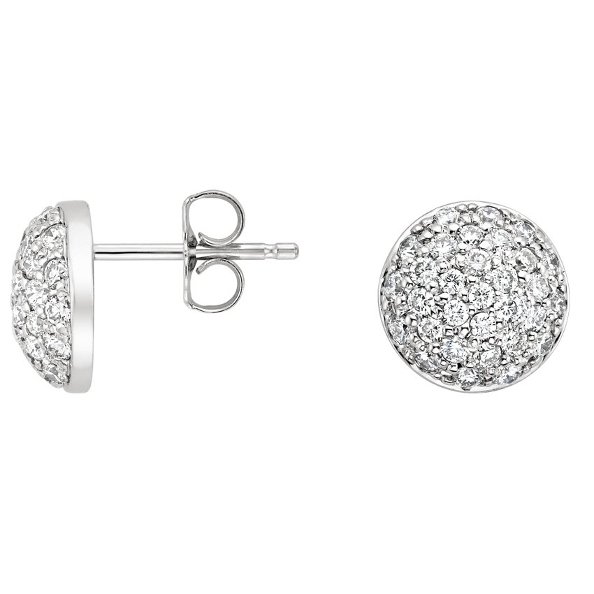 18K White Gold Pavé Eclipse Diamond Earrings, top view