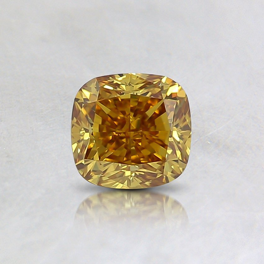 0.55 Ct. Fancy Deep Brownish Orangy Yellow Cushion Diamond
