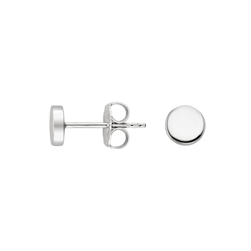 18K White Gold Fairmined Button Stud Earrings, top view