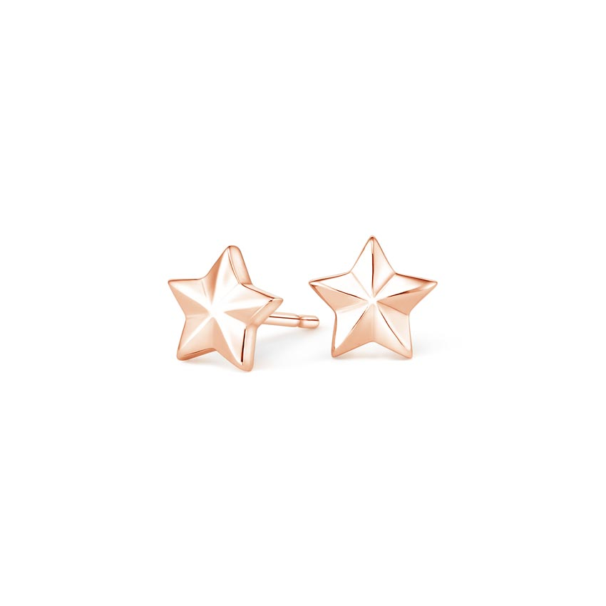 Star Stud Earrings in 14K Rose Gold