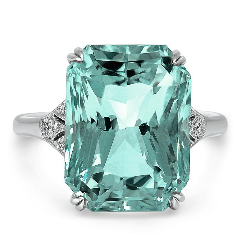 Art Deco Aquamarine Cocktail Ring
