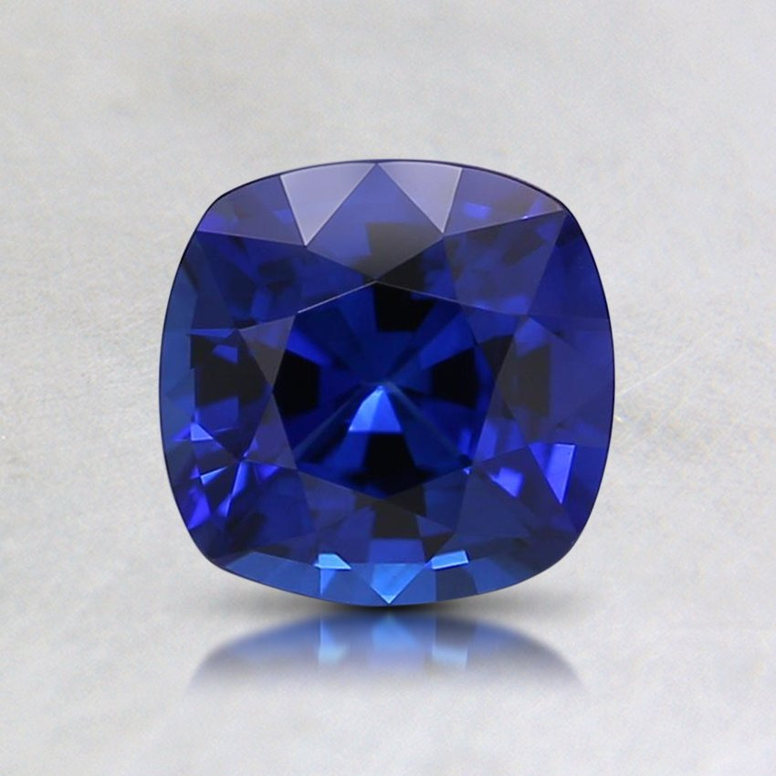 6mm Super Premium Blue Cushion Sapphire, top view
