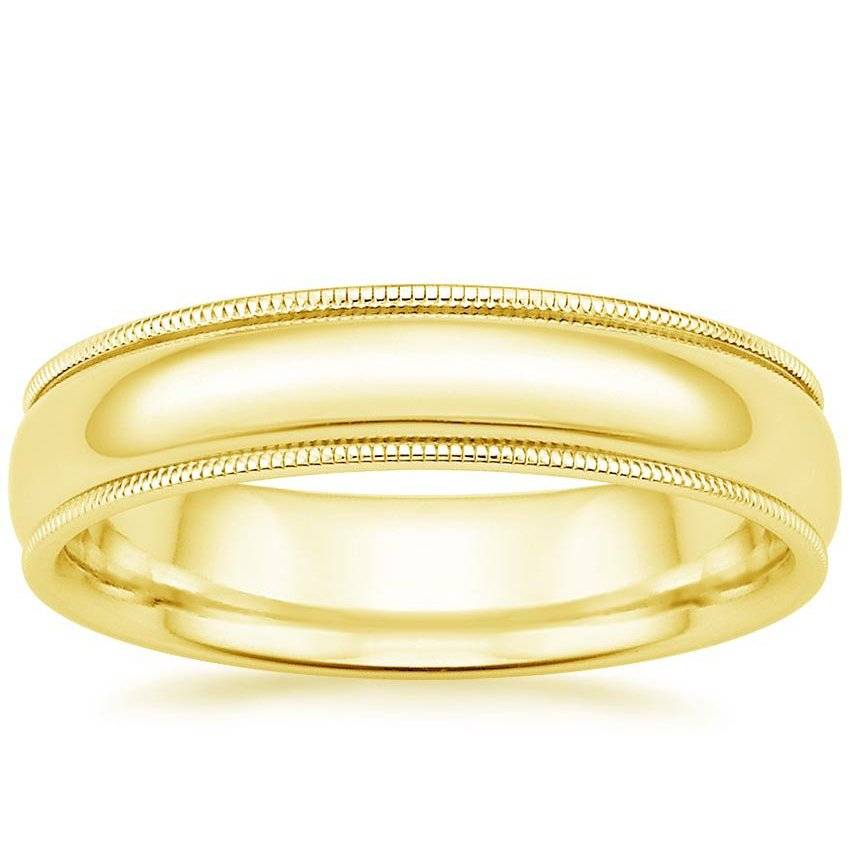 Yellow Gold 5mm Milgrain Wedding Ring
