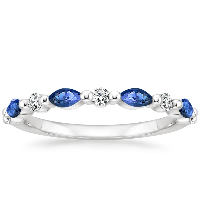 Marquise Sapphire Wedding Ring