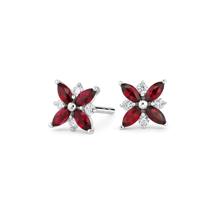 Ruby and Diamond Petal Earrings