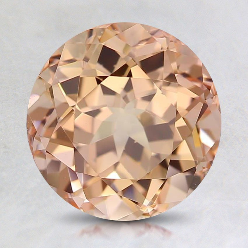 8mm Lab Created Peach Round Sapphire, top view