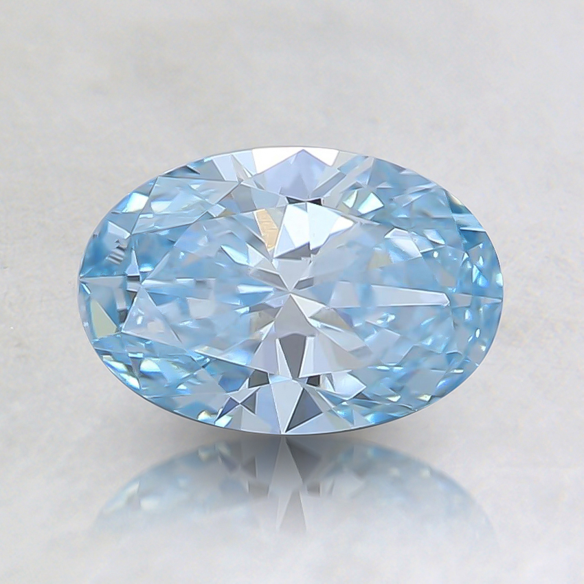 0.74 Ct. Fancy Intense Greenish Blue Oval Lab Created Diamond