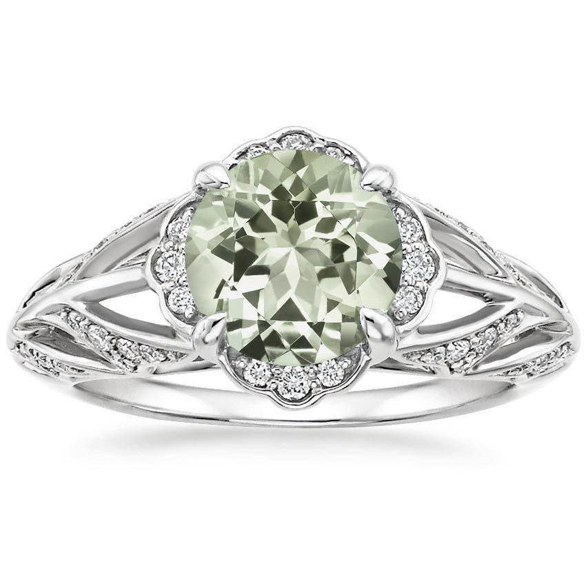 Prasiolite Fiore Ring in 18K White Gold