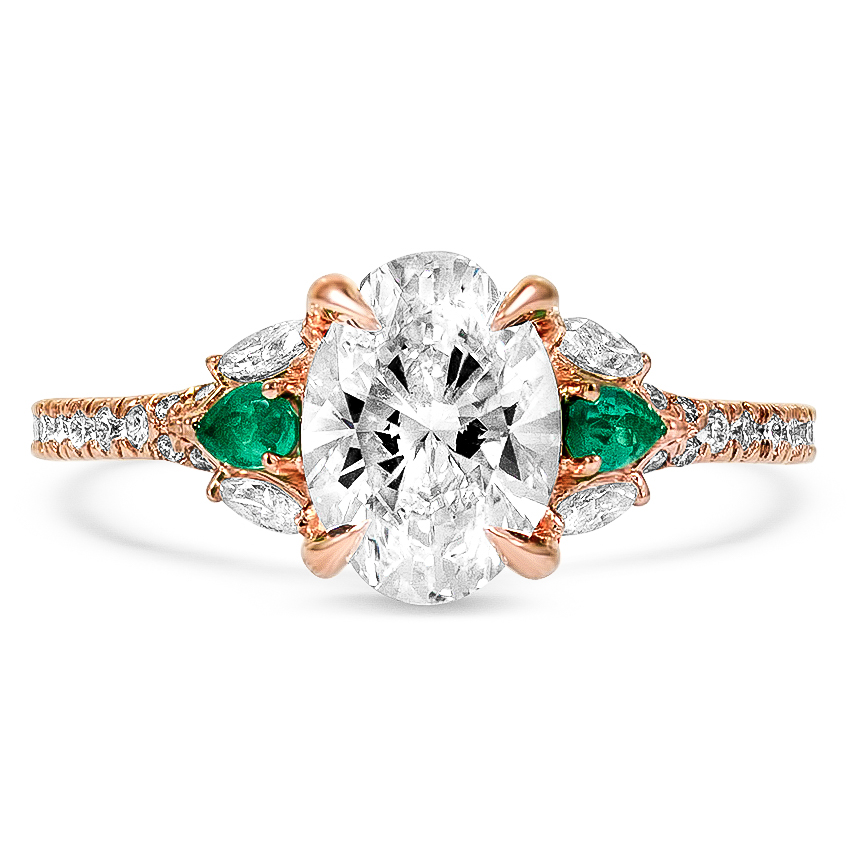 Custom Surprise Gallery Diamond Ring with Emerald Accents
