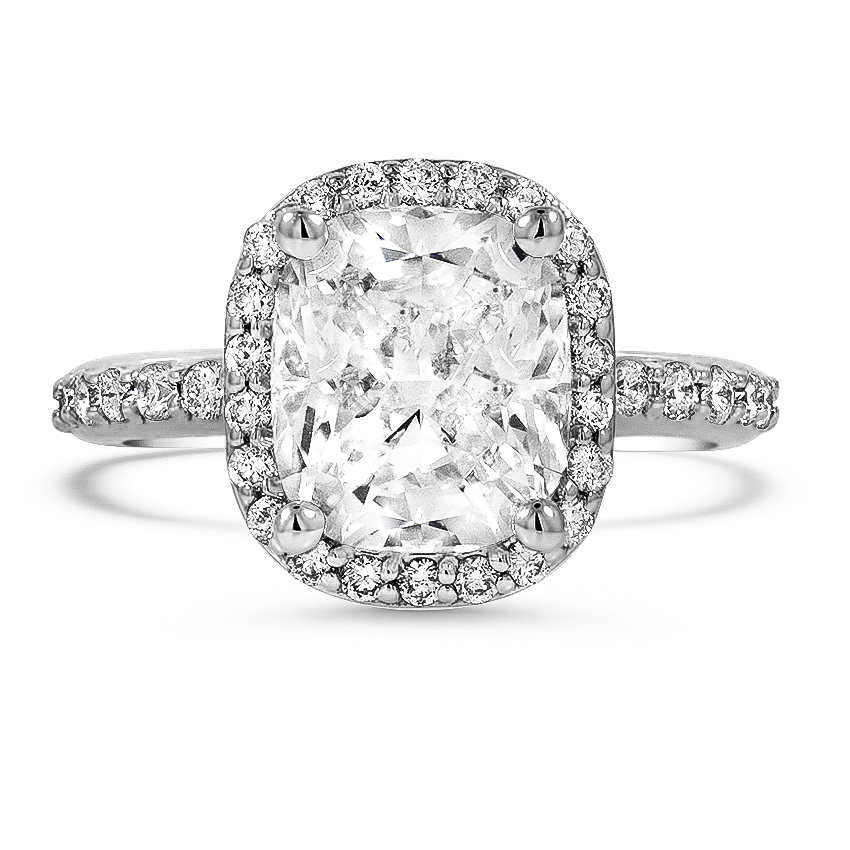 Custom Shared-Prong Cushion Halo Diamond Ring