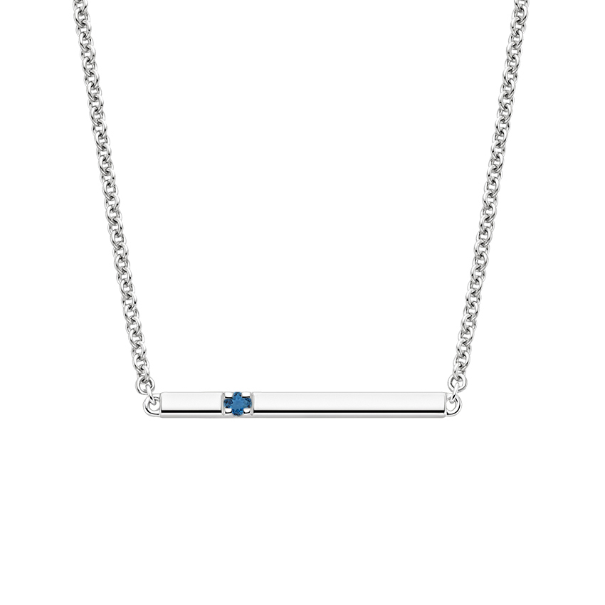 Silver London Blue Topaz Bar Pendant