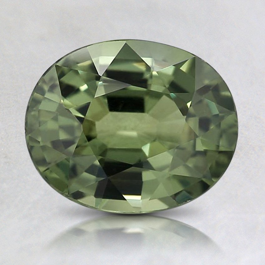 8.2x6.7mm Green Oval Sapphire, top view