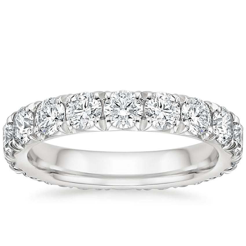 French Pave Eternity Diamond Ring (3 ct. tw.) in 18K White Gold
