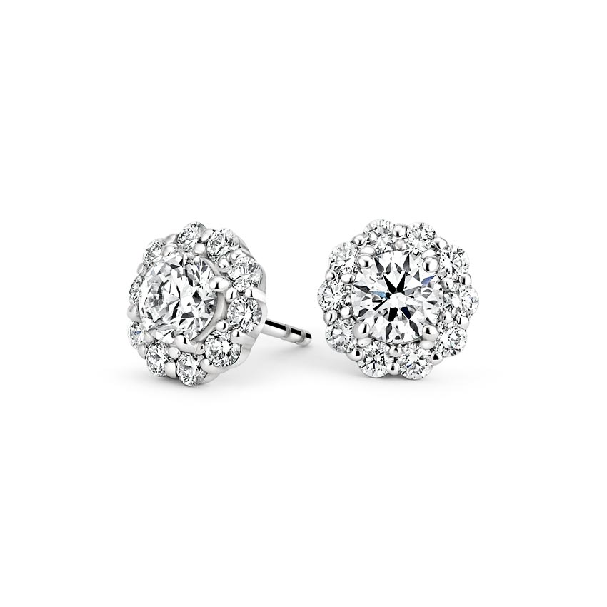 18K White Gold Lotus Flower Diamond Earrings (1/2 ct. tw.), top view