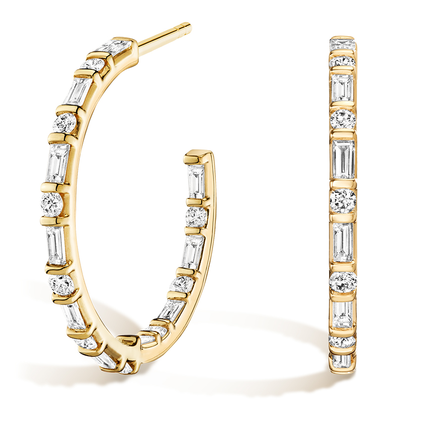 Round and Baguette Diamond J Hoop Yellow Gold Earrings