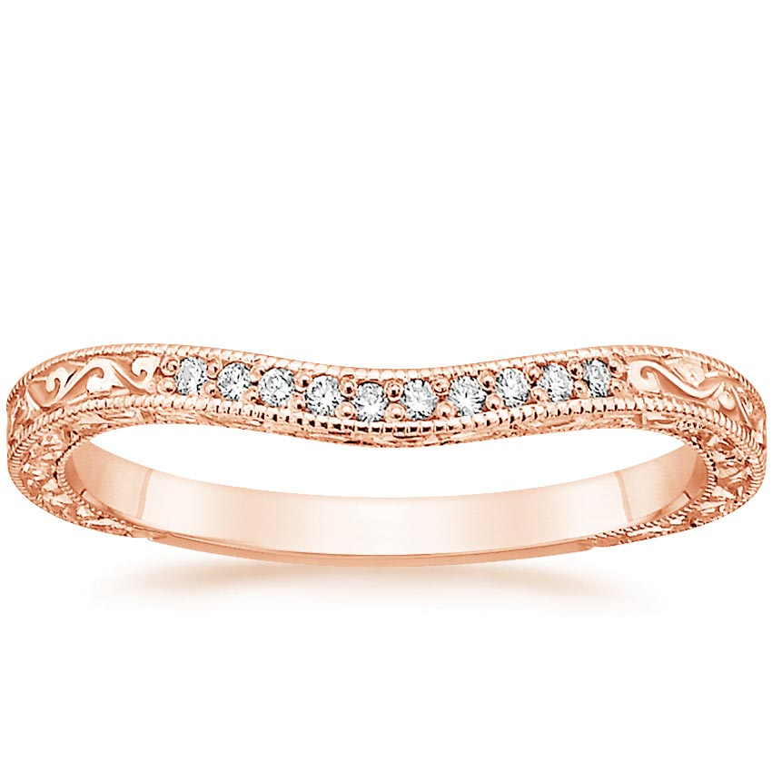 Rose Gold Three Stone Hudson Contoured Diamond Ring