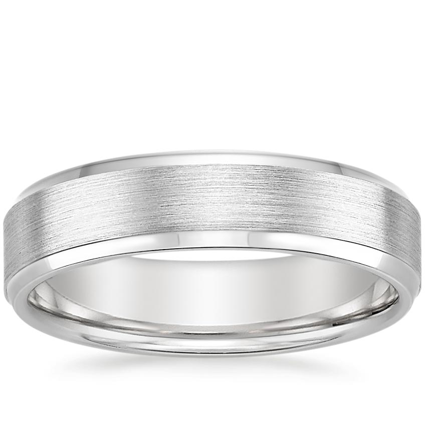 Platinum Beveled Edge Matte Wedding Ring, top view