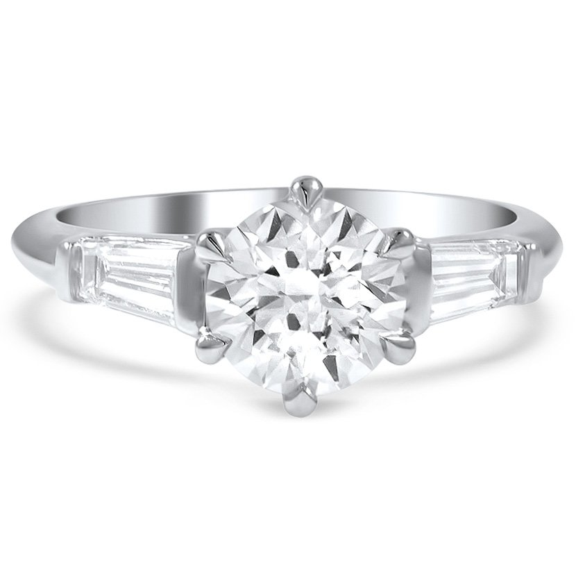 Custom Tapered Baguette Six-Prong Engagement Ring