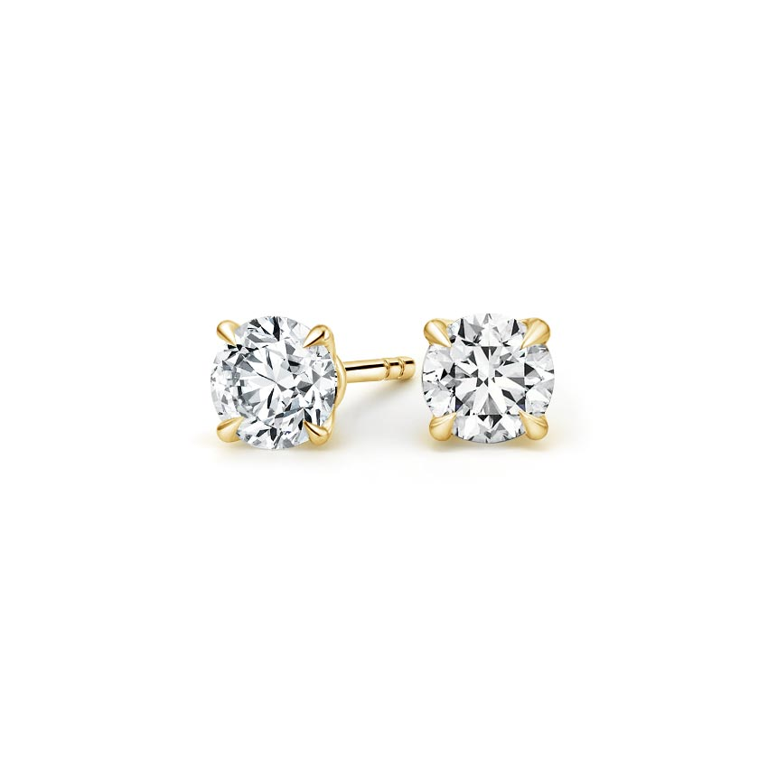 18K Yellow Gold Claw Prong Round Diamond Stud Earrings, top view