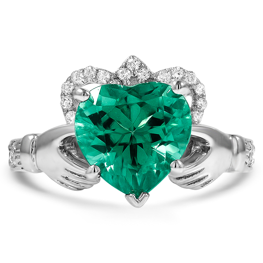 Custom Emerald Claddagh Ring with Diamond Accents