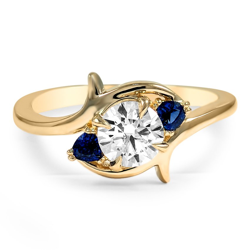Top Twenty Custom Rings - SWEEPING THREE STONE SAPPHIRE AND DIAMOND ENGAGEMENT RING