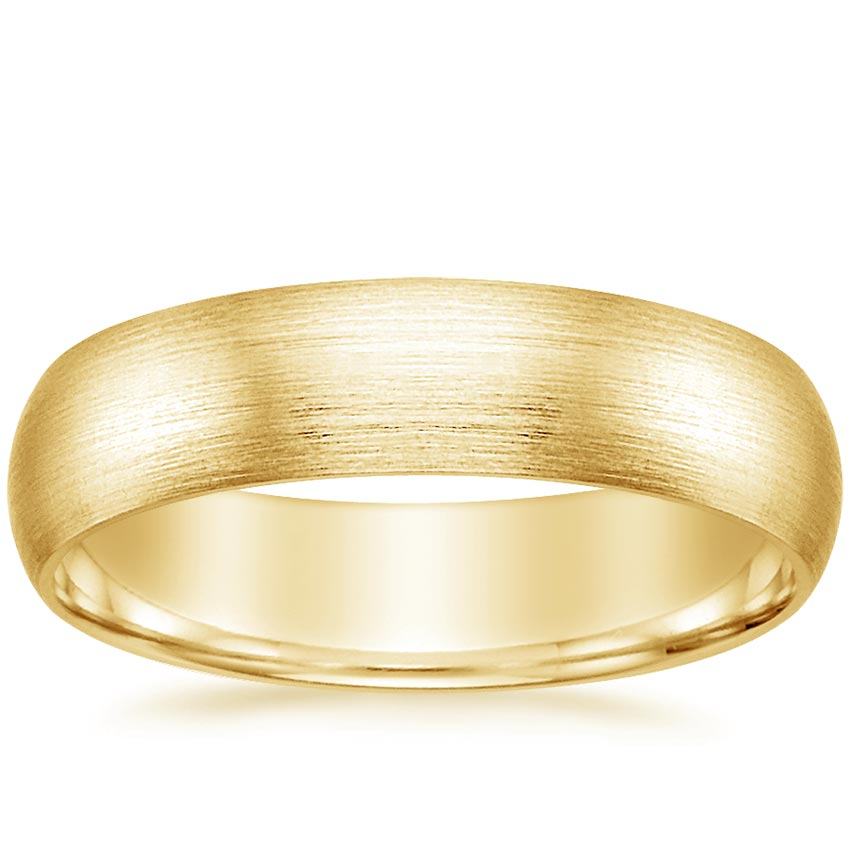 Yellow Gold 5.5mm Matte Comfort Fit Wedding Ring
