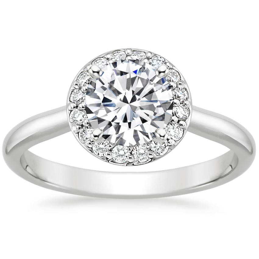 Preset 18K White Gold Halo Diamond Ring 1 8 Ct Tw