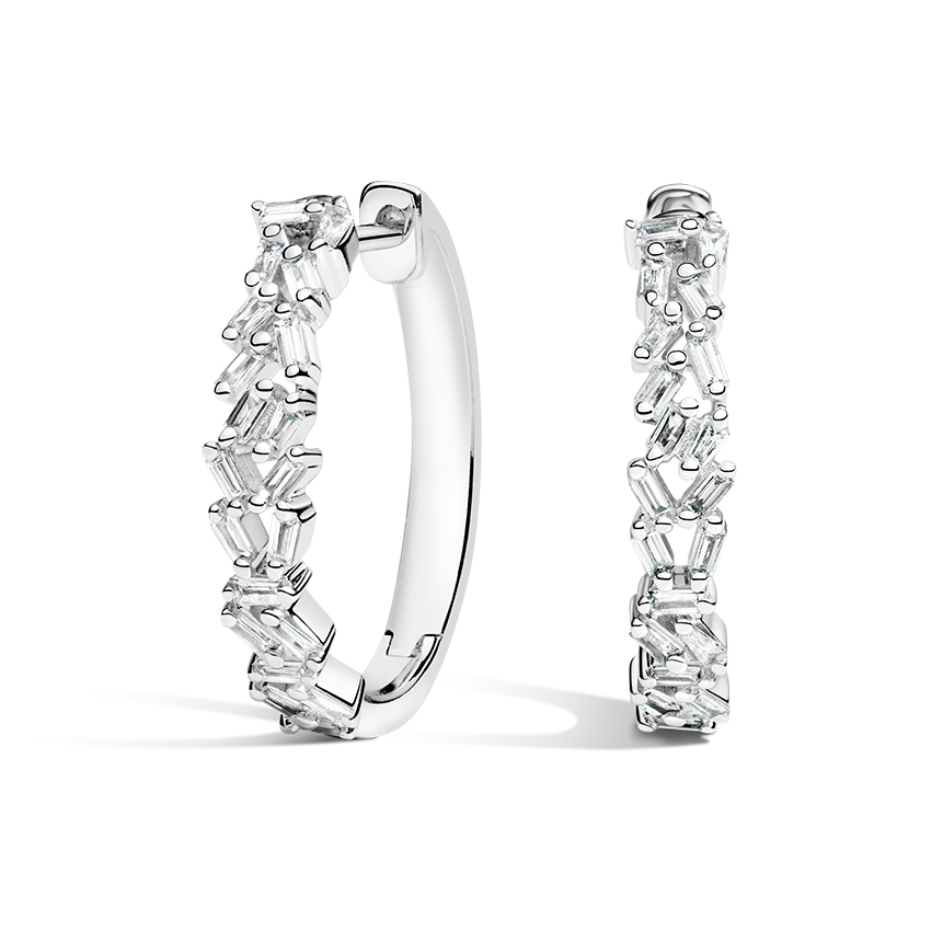 Baguette Diamond Cluster Hoops