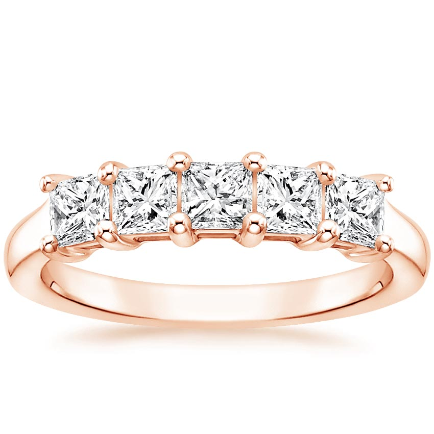 Rose Gold Princess Five Stone Diamond Ring (1 ct. tw.)