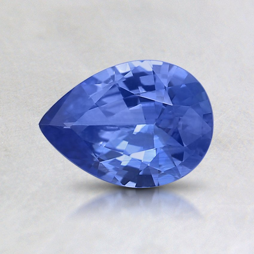 7x5mm Blue Pear Sapphire, top view