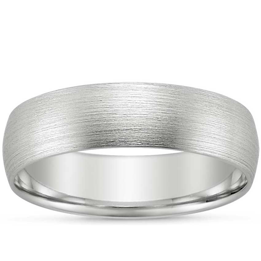 Platinum 6mm Matte Comfort Fit Wedding Ring, top view